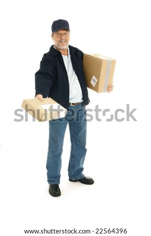 Delivery man offering a package