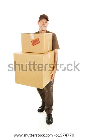 Delivery man or mover carrying heavy boxes. Full body isolated on white. - stock photo