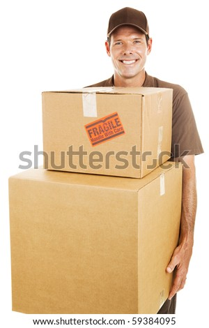 Delivery man or mover carrying heavy boxes.  Isolated on white. - stock photo