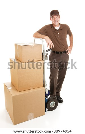 Delivery man or mover resting with a stack of boxes.  Full body isolated on white. - stock photo
