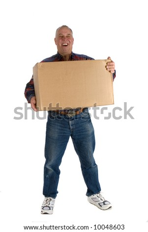 delivery man or receiver holding large cardboard box - stock photo