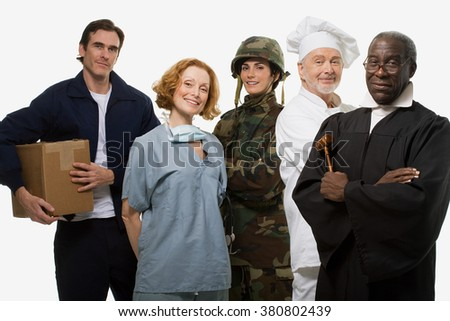 Delivery man surgeon soldier chef and judge