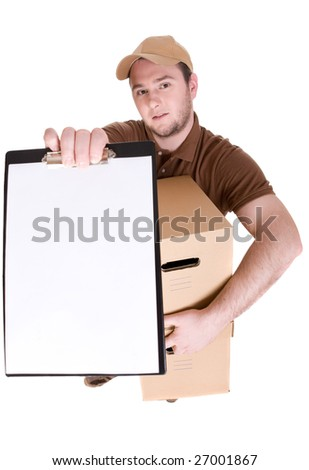 delivery man with a package isolated on white background - stock photo