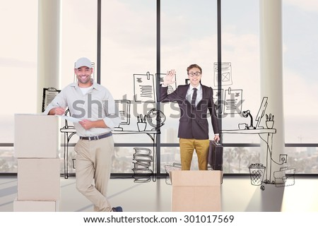 Delivery man with clipboard leaning on cardboard boxes against doodle office with beside window - stock photo