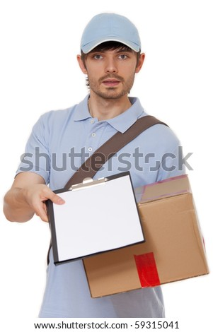delivery man with package and clipboard - isolated over white - stock photo