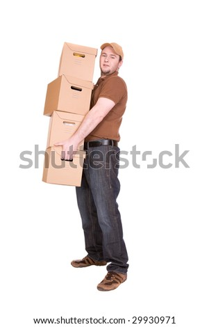 delivery man with package. over white background - stock photo