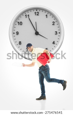 Delivery man with red box running on white background against clock - stock photo