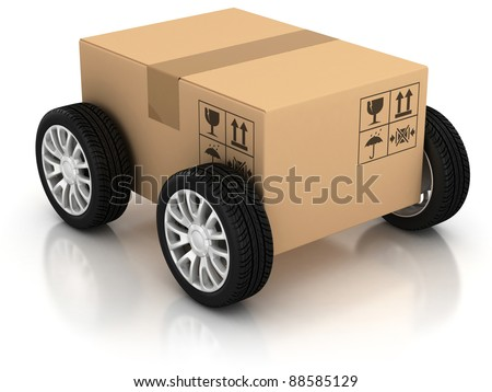 delivery, moving, shipping, transport 3d concept - stock photo