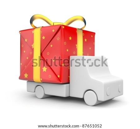 Delivery of gifts - stock photo
