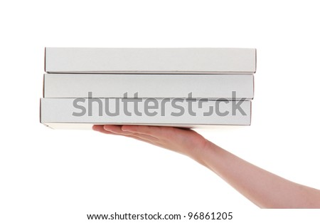 delivery of pizza box , isolated on white background - stock photo