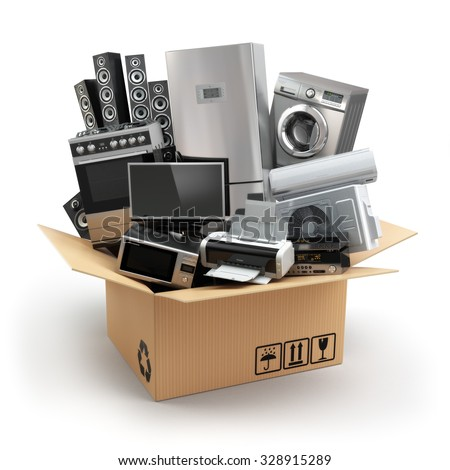 Delivery or moving concept. Home appliance in box. Fridge, washing machine, tv printer, microvawe oven, air conditioneer and loudspeakers. 3d - stock photo