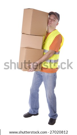delivery package man in reflective waistcoat keeping three carton boxes