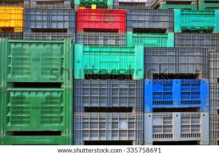 Delivery plastic boxes, shipping crates - stock photo