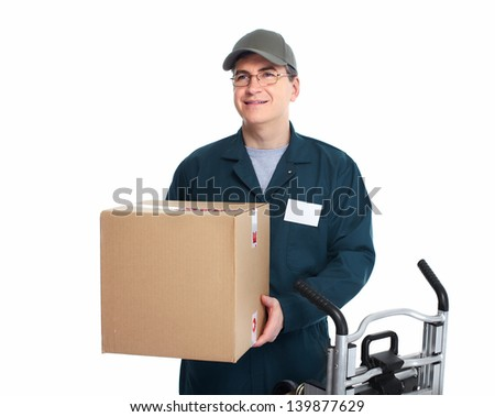 Delivery postman. Isolated on white background. - stock photo