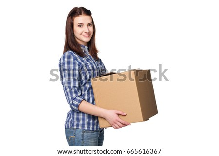 Delivery Relocation Unpacking Smiling Young Woman Stock ...