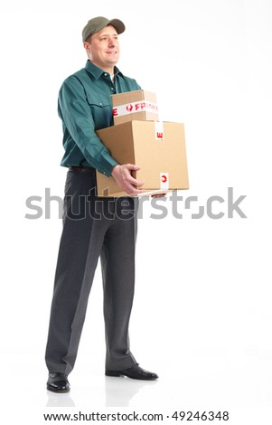 Delivery service. Handsome worker with a box. Isolated over white background
