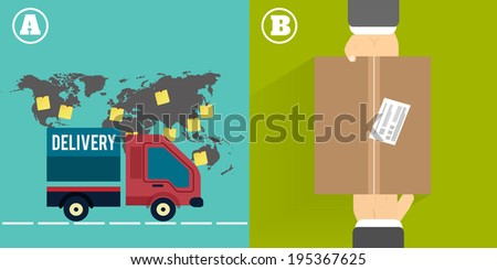 Delivery service 24 hours . Cargo truck symbol on multicolor background. Raster version - stock photo