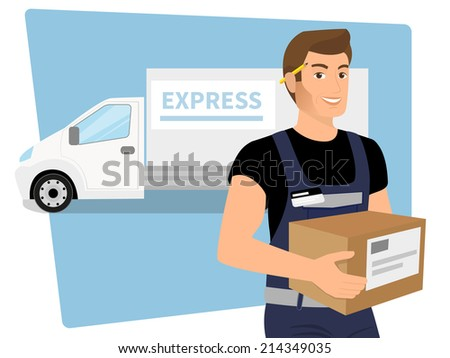 Delivery service man with a box in his hands and white delivery car behind him. - stock photo