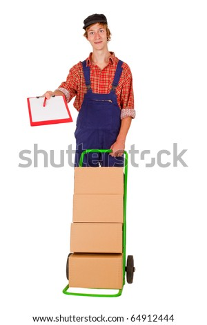 Delivery service man with packets - isolated on white - stock photo