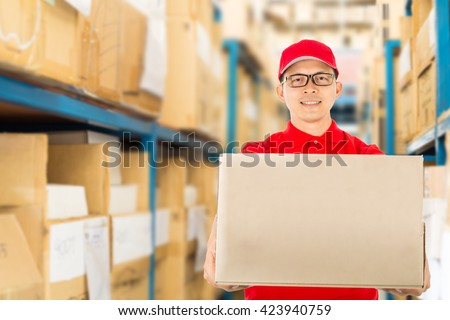 Delivery service to customer receiving package.  - stock photo