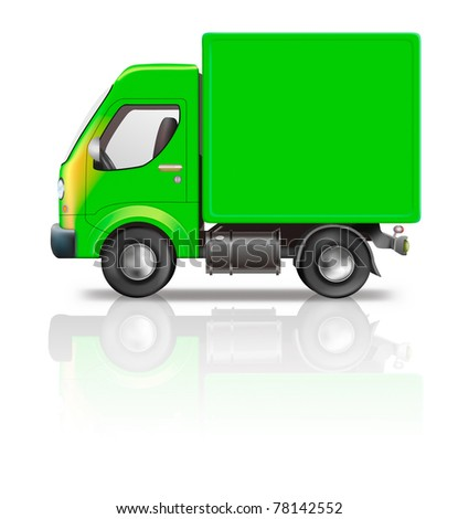 delivery truck illustration of green truck isolated on white with empty copy space on side concept for moving relocation shipping freight transport or logistics side view - stock photo