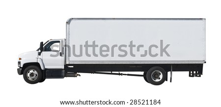 Delivery truck isolated on white background - stock photo