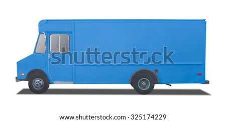 Delivery Truck on a white background, room for text ,logo or copy space - stock photo