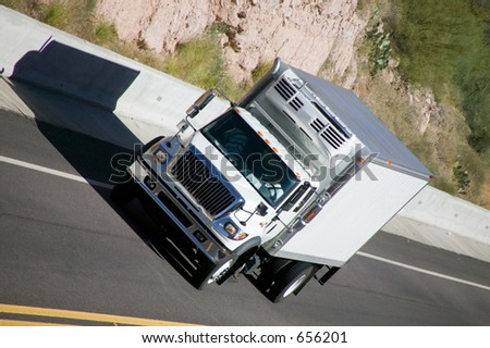 Delivery truck on highway. - stock photo