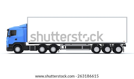 Delivery Truck on White Background. Side View - stock photo