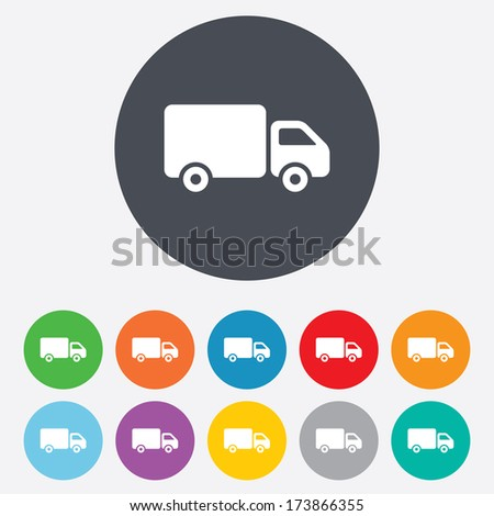 Delivery truck sign icon. Cargo van symbol. Round colourful 11 buttons. - stock photo