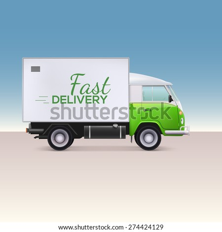 Delivery truck. Vehicle for the delivery of goods. Fast delivery inscription