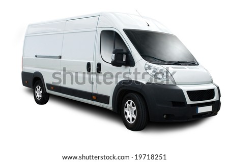 Delivery Van with Clipping Path - stock photo