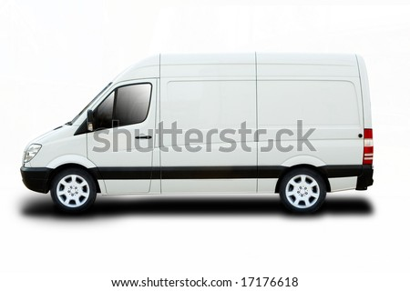 Delivery van with cool wheels - stock photo