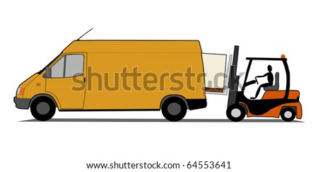 Delivery van with forklift - stock photo