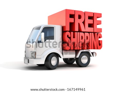 delivery van with free shipping letters on back - stock photo