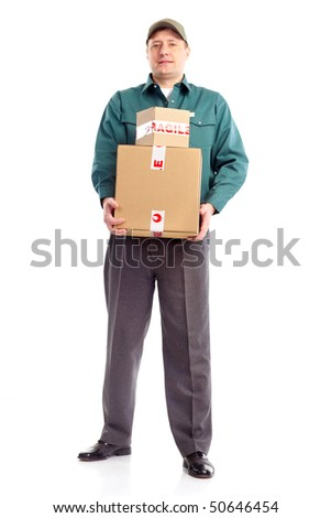 Delivery worker. Handsome worker with a box. Isolated over white background