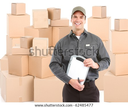 Delivery worker with boxes. Isolated over white background