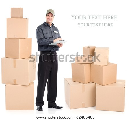 Delivery worker with boxes. Isolated over white background - stock photo