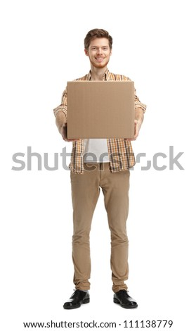 Deliveryman gives the parcel, isolated, white background - stock photo
