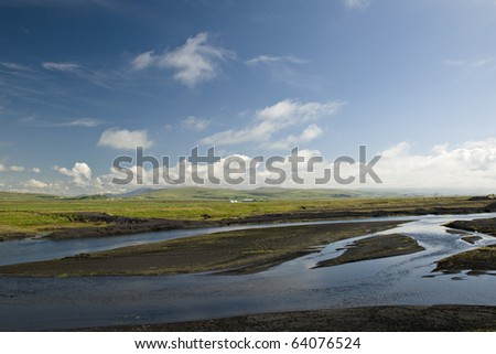Delta of glacier river in Iceland - stock photo