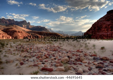 Delta of the Colorado River in the Grand Canyon - stock photo