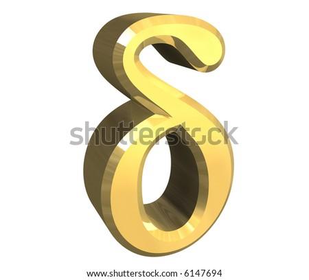 delta symbol in gold (3d) - stock photo