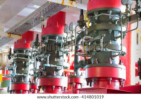Deluge valve system of fire fighting system for emergency of fire case in oil and gas field  - stock photo