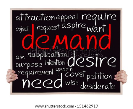 demand and other related words handwritten on blackboard with hands - stock photo