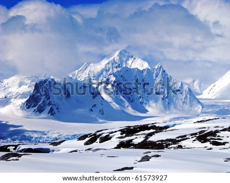 Demaria mount, The Antarctic Peninsula - stock photo