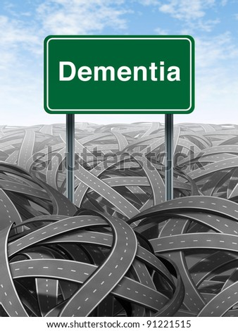 Dementia  and alzheimer Disease  medical concept with a green highway road sign and text for memory loss and human brain problems with tangled roads and twisted streets a symbol of confusion. - stock photo