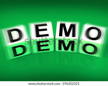 Demo Blocks Displaying Demonstration Test or Try-out a Version - stock photo