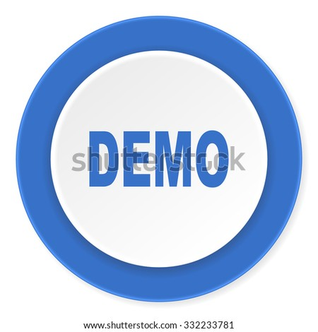 demo blue circle 3d modern design flat icon on white background  - stock photo