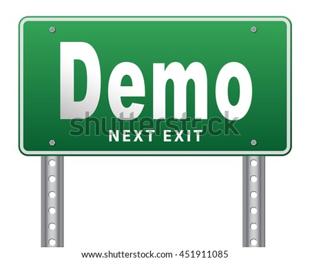 Demo for free trial download demonstration, billboard. 3D illustration, isolated, on white - stock photo