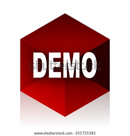 demo red cube 3d modern design icon on white background  - stock photo